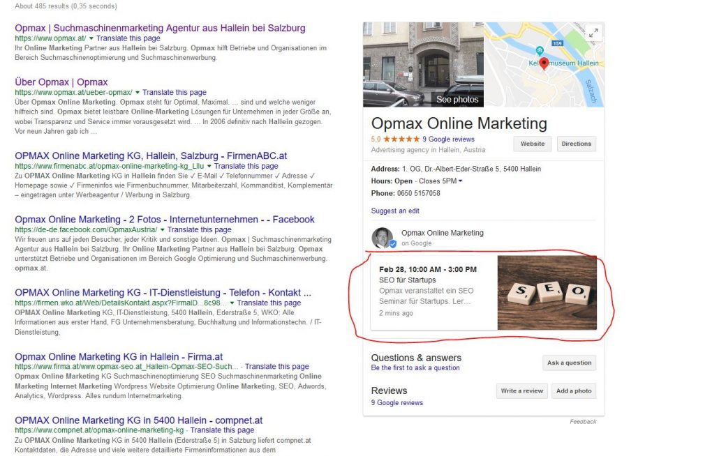 Posten auf Google my Business